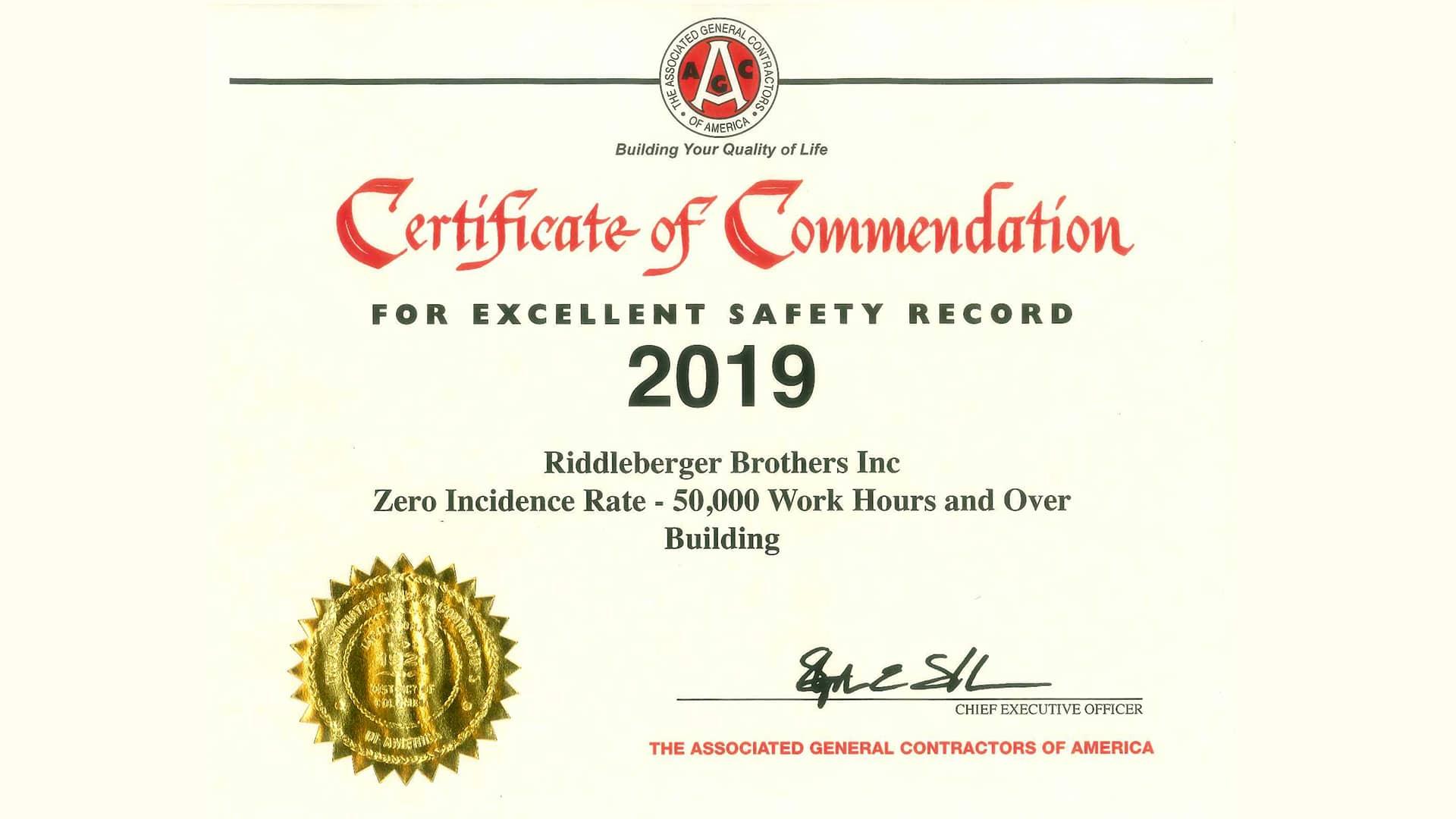 2019 Safety Award